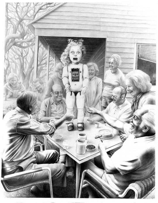 Laurie Lipton, When Company Comes I Have To Perform, 1989