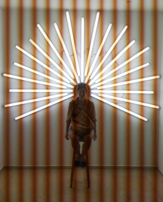 Yochai Matos, You're a Saint, Fluorescent light installation