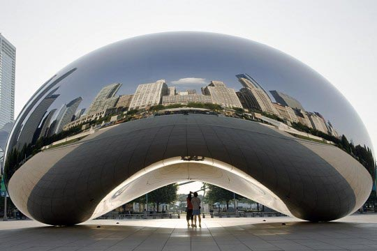 Anish Kapoor, Cloud Gate, 2004, Acier inoxydable, 10 x 20 x 12,8 m, Installation: Millennium Park, Chicago