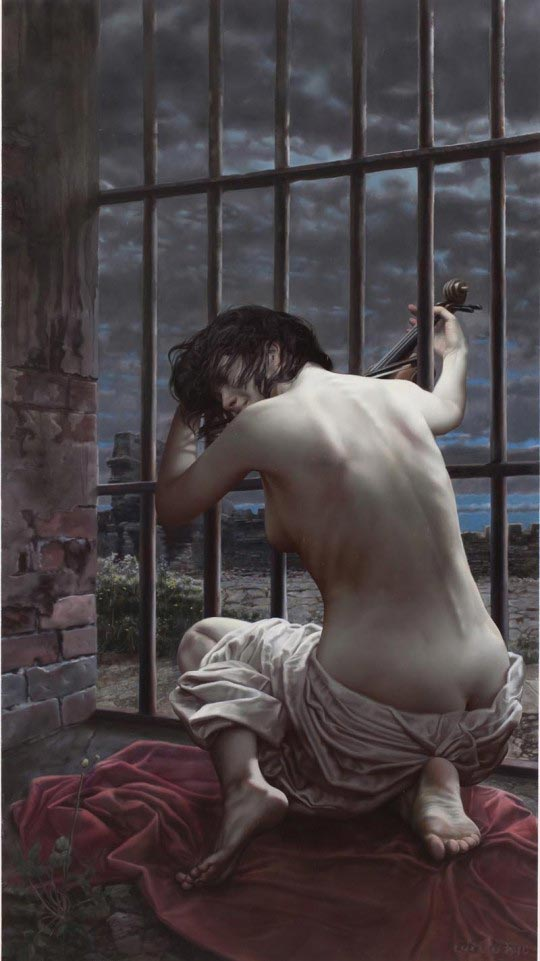 Lui Liu, My Sister, 2010, oil on canvas, 160cm x 90cm