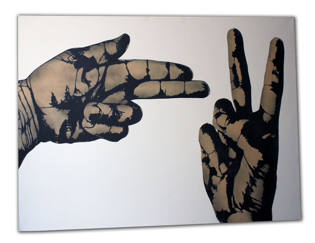 Icy and Sot, Gun vs V, spray de peinture sur toile, 2011