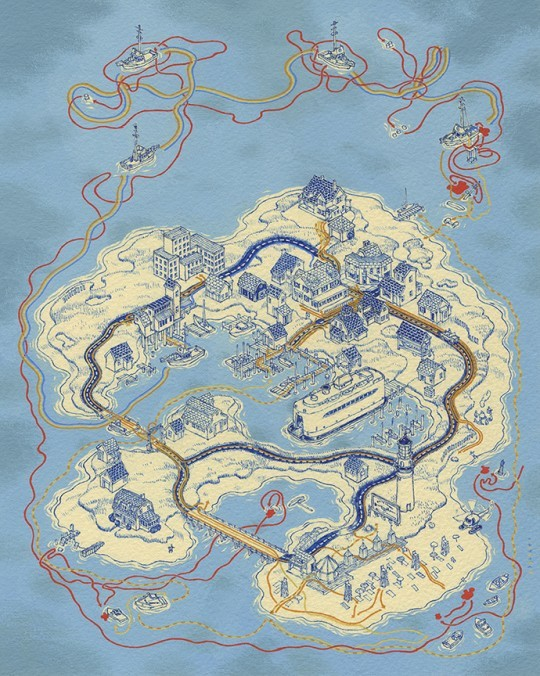 © Andrew DeGraff,  Paths of Amity (based on Jaws)