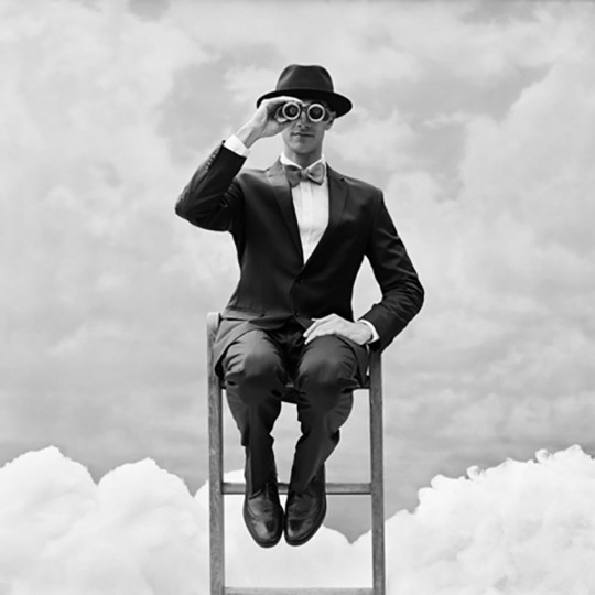 Rodney Smith, Reed Perched on the top of Ladder with Binoculars